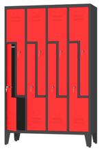 00150392 Szafa ubraniowa L na nogach, 4 segmenty, 8 drzwi (wymiary: 1860x1190x480 mm)
