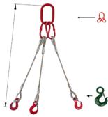 33948418 Zawiesie linowe trzycięgnowe miproSling C-WLL 18,0/12,5 (długość liny: 1m, udźwig: 12,5-18 T, średnica liny: 28 mm, wymiary ogniwa: 275x150 mm)
