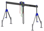 33960000 Wciągarka bramowa aluminiowa z wózkiem pchanym i wciągnikiem łańcuchowym miproCrane DELTA 400M (udźwig: 1500 kg, szerokość: 5100 mm, wysokość: 1640/2740 mm)