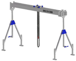 33960041 Wciągarka bramowa aluminiowa z wózkiem pchanym i wciągnikiem łańcuchowym miproCrane DELTA 500S (udźwig: 1000 kg, szerokość: 8100 mm, wysokość: 2240/3660 mm)