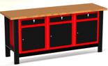87853458 Stół warsztatowy z szafką, 3 szuflady, 3 drzwi - blat ze sklejki (wymiary: 1960x890x600 mm)
