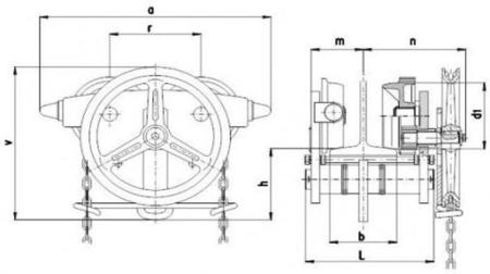 22038999 Wózek jedno-belkowy z napędem ręcznym Z420-A/5.0t/4m (wysokość podnoszenia: 4m, szerokość dwuteownika od: 113-137mm, udźwig: 5 T)