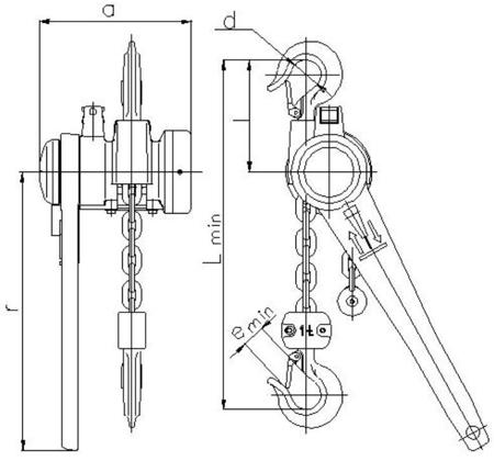 DOSTAWA GRATIS! 2202541 Wciągnik łańcuchowy dźwigniowy, rukcug z łańcuchem ogniwowym Z310/1.6t (wysokość podnoszenia: 2,5m, udźwig: 1,6 T)