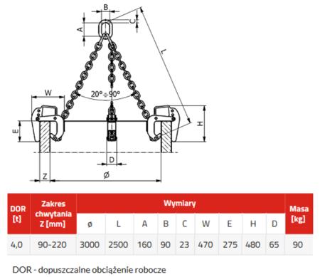 DOSTAWA GRATIS! 3398557 Zawiesie łańcuchowe 3-cięgnowe zakończone uchwytami do podnoszenia kręgów betonowych GDA 4,0 (udźwig: 4 T, zakres chwytania: 90-220 mm)