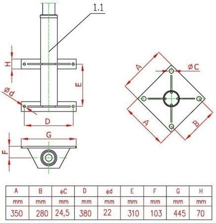 DOSTAWA GRATIS! 95874760 Żuraw słupowy z wciągarką ręczną (udźwig: 400 kg, długość ramienia: 1585mm)