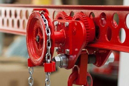 DOSTAWA GRATIS! 9588164 Wózek szynowy do wciągników stacjonarnych (udźwig: 1,0 T, wysokość podnoszenia: 3m, zakres toru jezdnego: 66-106 mm)