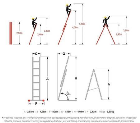 DOSTAWA GRATIS! 99674733 Drabina uniwersalna Aloss 2x9 (wysokość robocza: 5,40m)