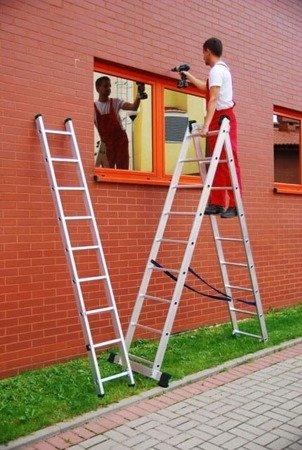 DOSTAWA GRATIS! 99674913 Drabina aluminiowa uniwersalna 3x11 Professional na schody (wysokość robocza: 8,45m)