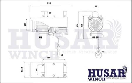HUBER Wyciągarka linowa Husar z pilotem bezprzewodowym (uźwig: 150/300 kg, maks, wysokosć podnoszenia: 18m / 9m, moc: 650 W) 51971682
