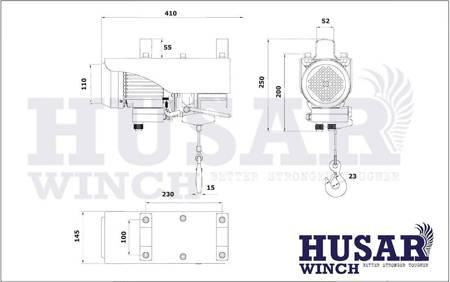 HUBER Wyciągarka linowa Husar z pilotem bezprzewodowym (uźwig: 400/800 kg, maks, wysokosć podnoszenia: 18m / 9m, moc: 1800 W) 51971684