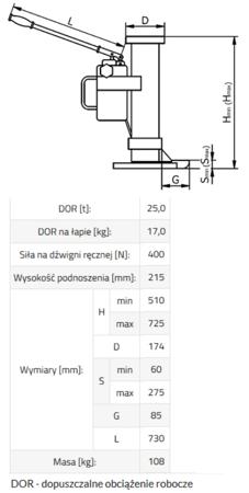 IMPROWEGLE Podnośnik hydrauliczny BSE 25 (udźwig: 25 T) 33917052