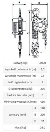 IMPROWEGLE Wciągnik łańcuchowy SBE 3,0 (udźwig: 3000 kg, wysokość podnoszenia: 6 m) 33917049