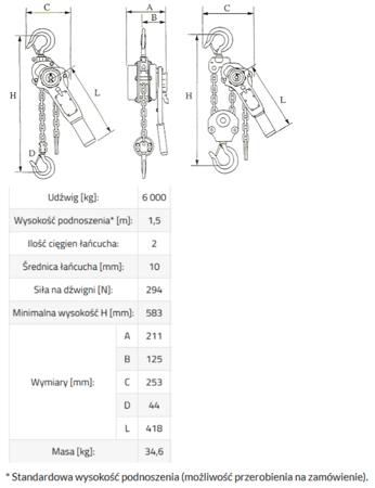 IMPROWEGLE Wciągnik łańcuchowy, rukcug MKS 6,0 3m (udźwig: 6000 kg, wysokość podnoszenia: 3 m) 33948569
