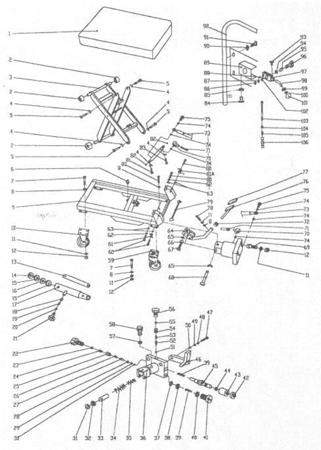 LIFERAIDA Wózek platformowy nożycowy (udźwig: 150 kg, wymiary platformy: 700x450 mm, wysokość podnoszenia min/max: 265-755 mm) 0301620