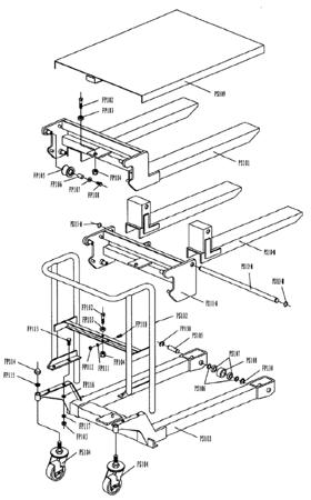 SWARK Wózek paletowy/platformowy podnośnikowy GermanTech (max wysokość: 85-1200 mm, udźwig: 400 kg, długość wideł: 650 mm) 99724817