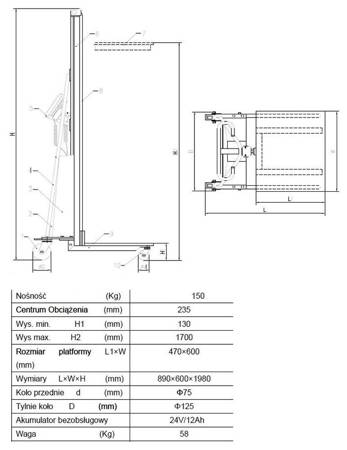 SWARK Wózek podnośnikowy z podestem elektryczny GermanTech (max wysokość: 1500 mm, udźwig: 150 kg) 99724815