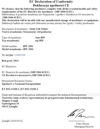 Stół podnośny elektryczny (wymiary platformy: 850x2000mm, udźwig: 1000 kg, wysokość podnoszenia min/max: 240-1300 mm) 3109772