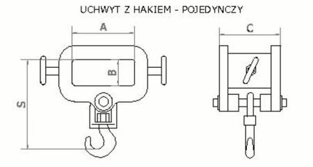 Uchwyt z hakiem (pojedynczy) (2000kg) 2903547