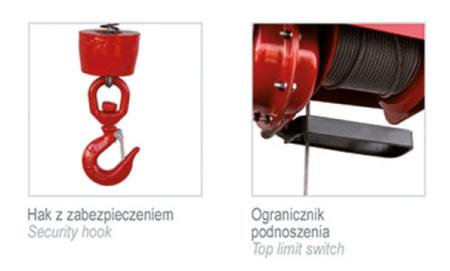 Wciągarka elektryczna linowa budowlana + lina 30m + sterowanie ręczne 1,5m (udźwig: 150 kg) 08126407