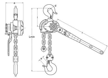 Wciągnik łańcuchowy dźwigniowy (wysokość podnoszenia: 5,5m, udźwig: 0,8 T) 22076838