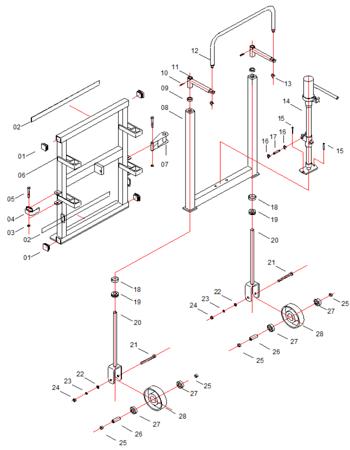 Wózek hydrauliczny do transportu maszyn, mebli GermanTech (udźwig: 1800 kg) 99724839